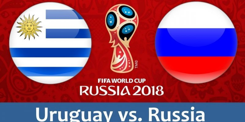 Uruguay vs Russia world cup match hd photos with both team flag 800x400